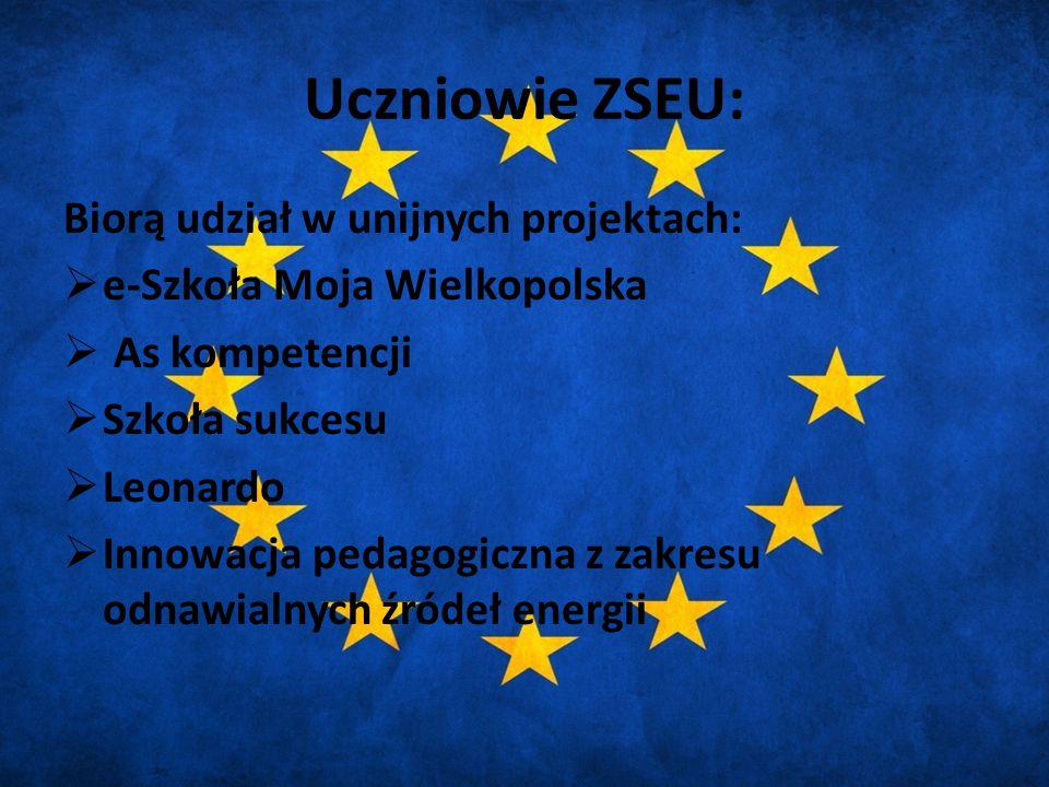 Uczniowie ZSEU: Biorą udział w unijnych projektach:  e-Szkoła Moja Wielkopolska  As kompetencji  Szkoła sukcesu  Leonardo  Innowacja pedagogiczna z zakresu odnawialnych źródeł energii