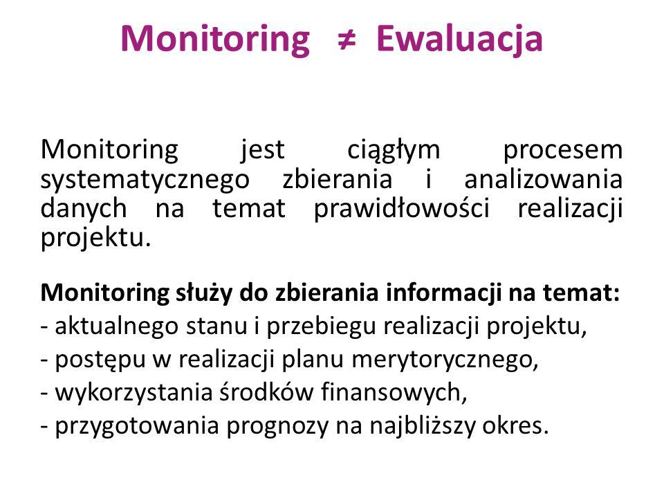 Monitoring ≠ Ewaluacja Monitoring jest ciągłym procesem systematycznego zbierania i analizowania danych na temat prawidłowości realizacji projektu.