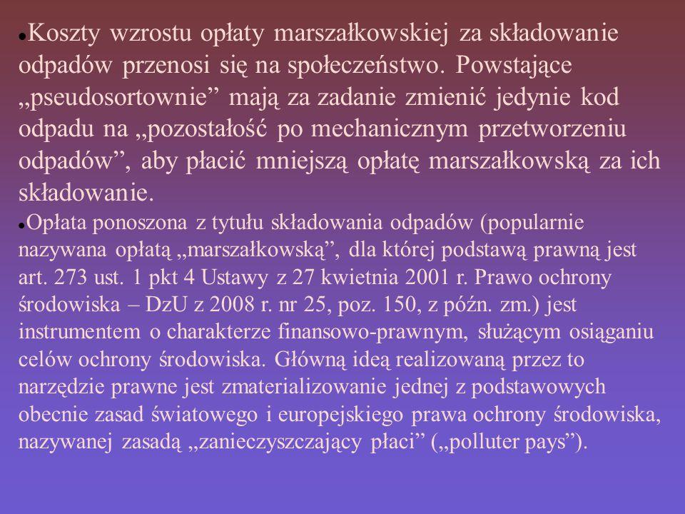 Koszty wzrostu opłaty marszałkowskiej za składowanie odpadów przenosi się na społeczeństwo.