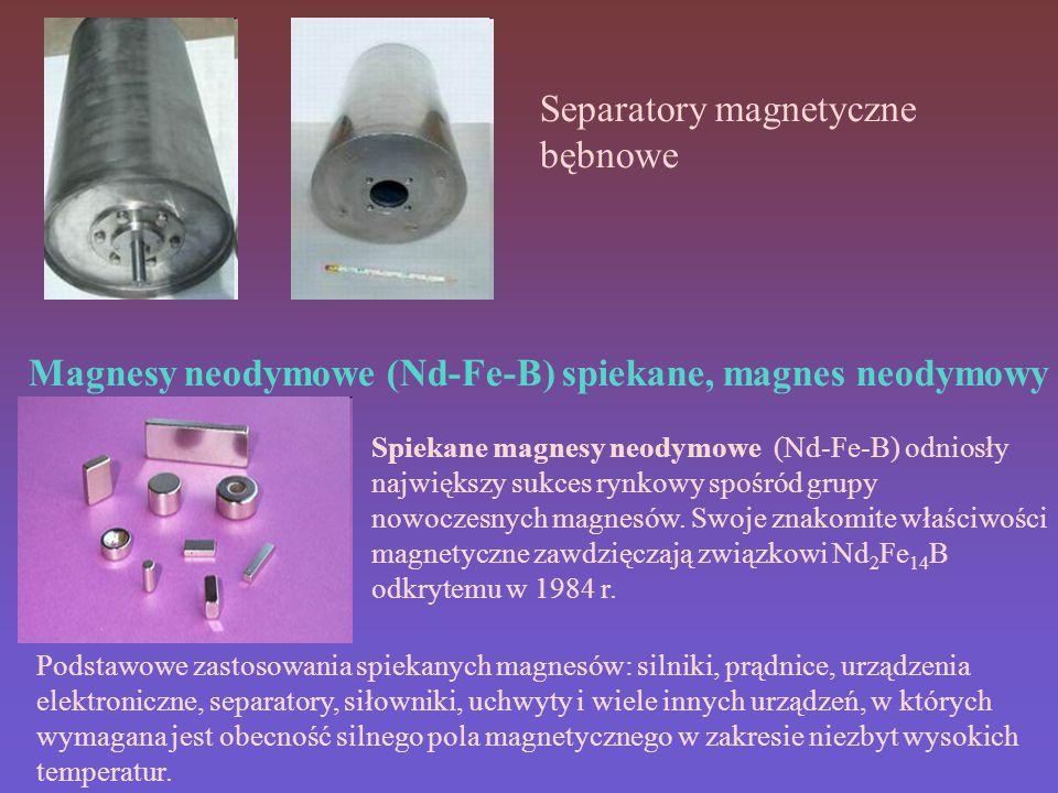 Magnesy neodymowe (Nd-Fe-B) spiekane, magnes neodymowy Separatory magnetyczne bębnowe Spiekane magnesy neodymowe (Nd-Fe-B) odniosły największy sukces rynkowy spośród grupy nowoczesnych magnesów.