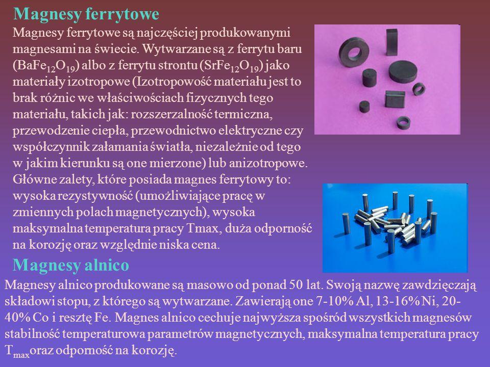 Magnesy ferrytowe Magnesy ferrytowe są najczęściej produkowanymi magnesami na świecie.