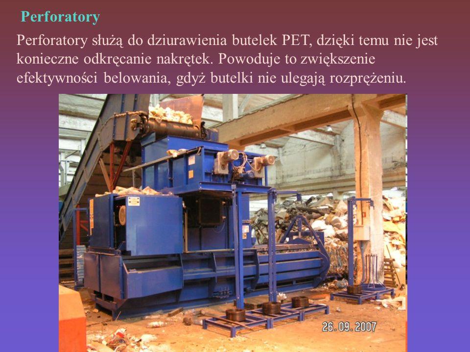 Perforatory Perforatory służą do dziurawienia butelek PET, dzięki temu nie jest konieczne odkręcanie nakrętek.