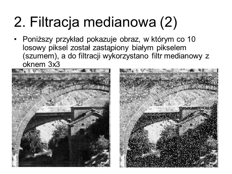 Poniższy przykład pokazuje obraz, w którym co 10 losowy piksel został zastąpiony białym pikselem (szumem), a do filtracji wykorzystano filtr medianowy