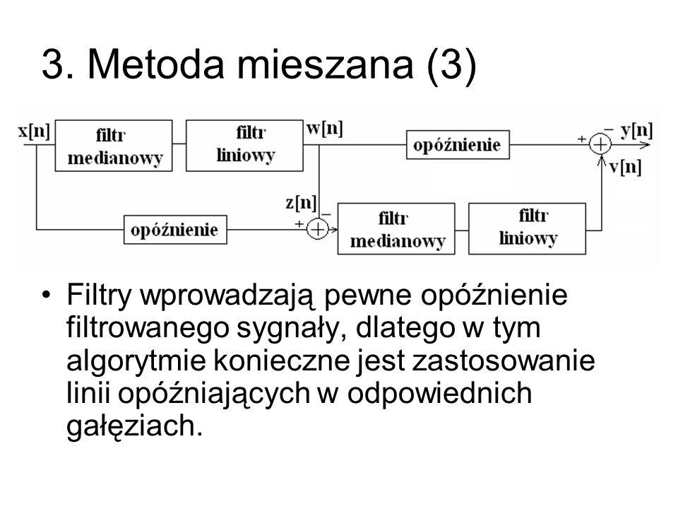 3. Metoda mieszana (3) Filtry wprowadzają pewne opóźnienie filtrowanego sygnały, dlatego w tym algorytmie konieczne jest zastosowanie linii opóźniając