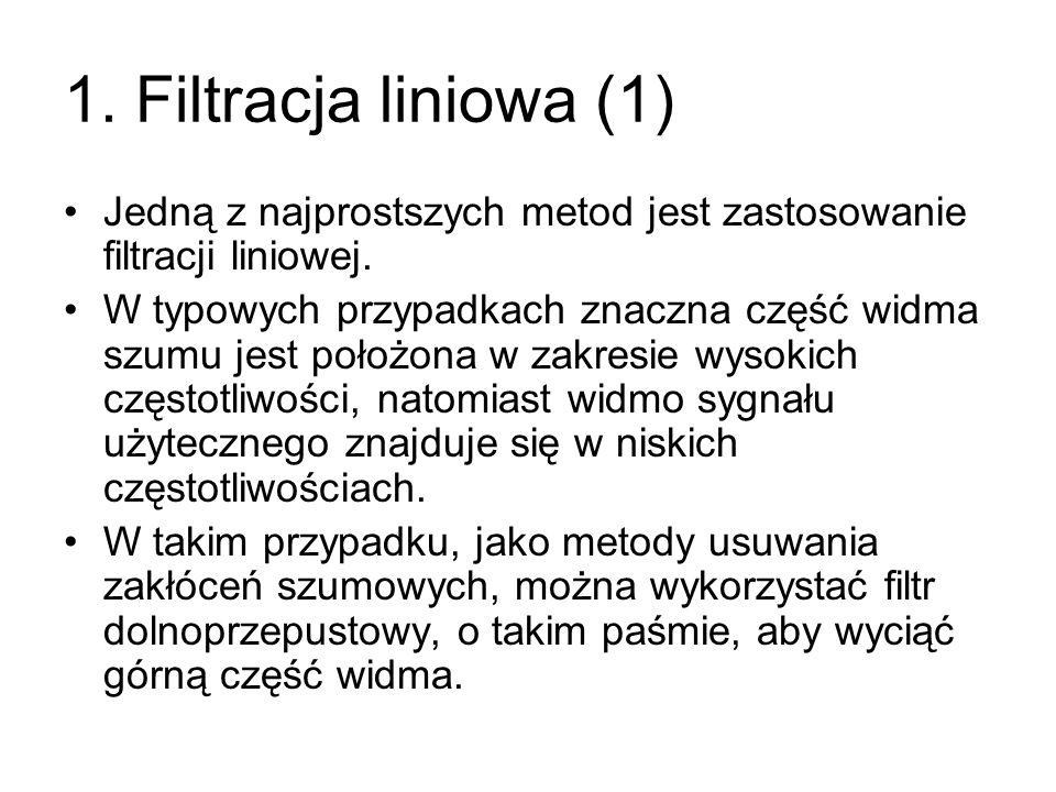 1. Filtracja liniowa (1) Jedną z najprostszych metod jest zastosowanie filtracji liniowej. W typowych przypadkach znaczna część widma szumu jest położ