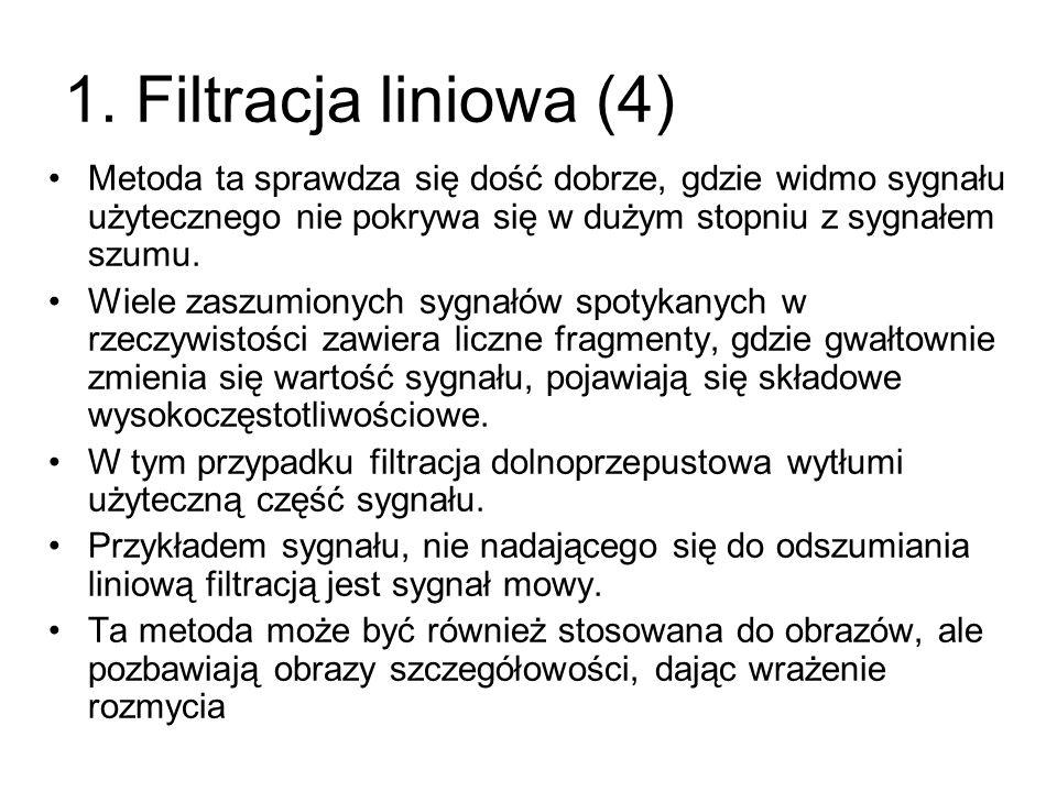 1. Filtracja liniowa (4) Metoda ta sprawdza się dość dobrze, gdzie widmo sygnału użytecznego nie pokrywa się w dużym stopniu z sygnałem szumu. Wiele z