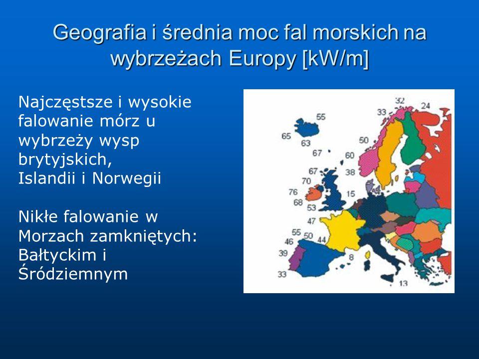 Geografia i średnia moc fal morskich na wybrzeżach Europy [kW/m] Najczęstsze i wysokie falowanie mórz u wybrzeży wysp brytyjskich, Islandii i Norwegii Nikłe falowanie w Morzach zamkniętych: Bałtyckim i Śródziemnym