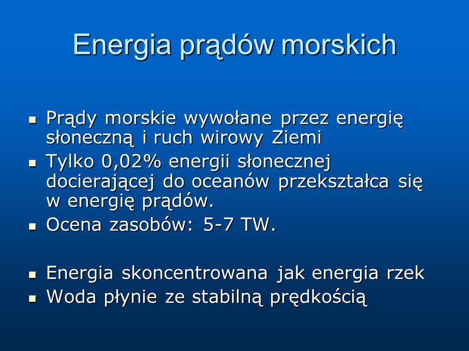 Energia prądów morskich Prądy morskie wywołane przez energię słoneczną i ruch wirowy Ziemi Prądy morskie wywołane przez energię słoneczną i ruch wirow