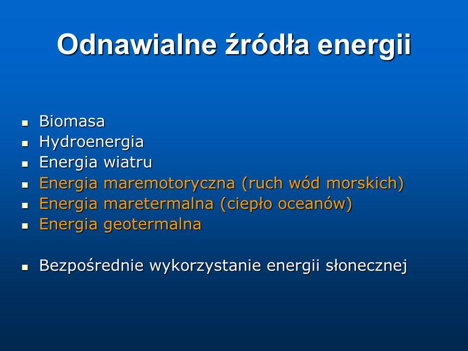 Odnawialne źródła energii Biomasa Biomasa Hydroenergia Hydroenergia Energia wiatru Energia wiatru Energia maremotoryczna (ruch wód morskich) Energia maremotoryczna (ruch wód morskich) Energia maretermalna (ciepło oceanów) Energia maretermalna (ciepło oceanów) Energia geotermalna Energia geotermalna Bezpośrednie wykorzystanie energii słonecznej Bezpośrednie wykorzystanie energii słonecznej