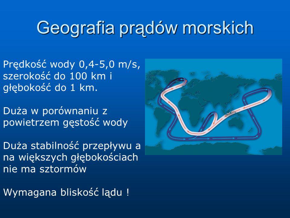 Prędkość wody 0,4-5,0 m/s, szerokość do 100 km i głębokość do 1 km. Duża w porównaniu z powietrzem gęstość wody Duża stabilność przepływu a na większy
