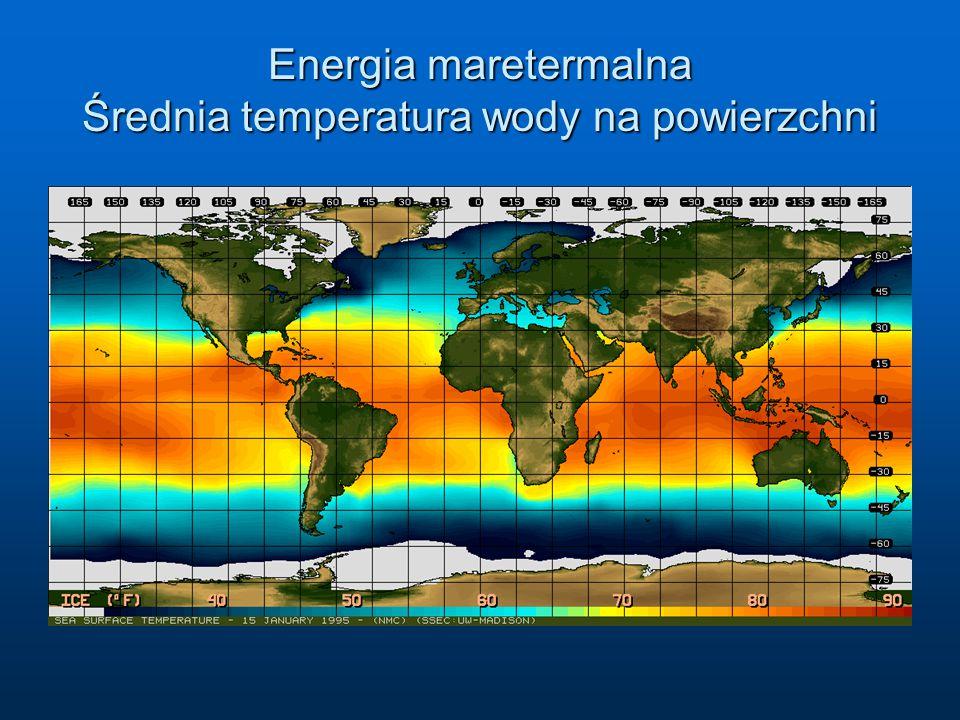 Energia maretermalna Średnia temperatura wody na powierzchni