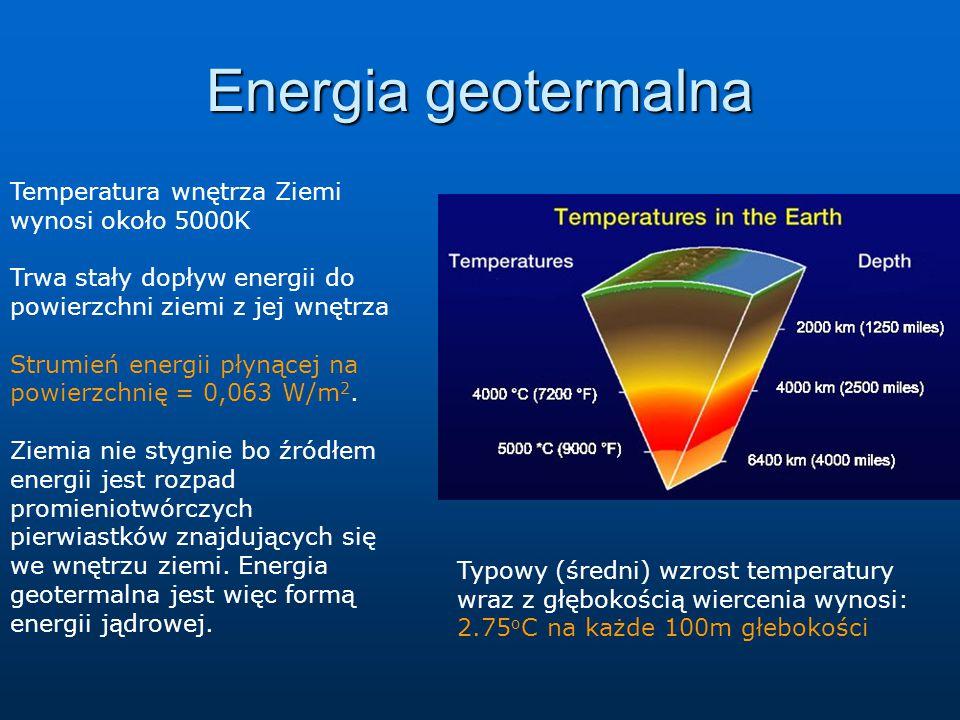 Energia geotermalna Temperatura wnętrza Ziemi wynosi około 5000K Trwa stały dopływ energii do powierzchni ziemi z jej wnętrza Strumień energii płynącej na powierzchnię = 0,063 W/m 2.