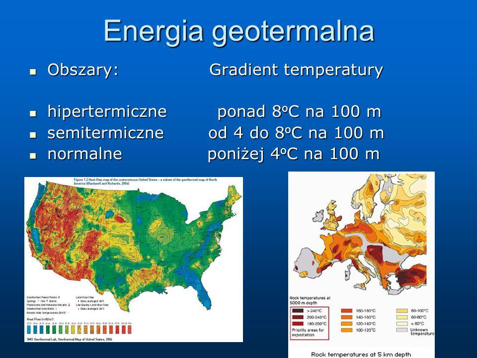 Energia geotermalna Obszary: Gradient temperatury Obszary: Gradient temperatury hipertermiczne ponad 8 o C na 100 m hipertermiczne ponad 8 o C na 100 m semitermiczne od 4 do 8 o C na 100 m semitermiczne od 4 do 8 o C na 100 m normalne poniżej 4 o C na 100 m normalne poniżej 4 o C na 100 m