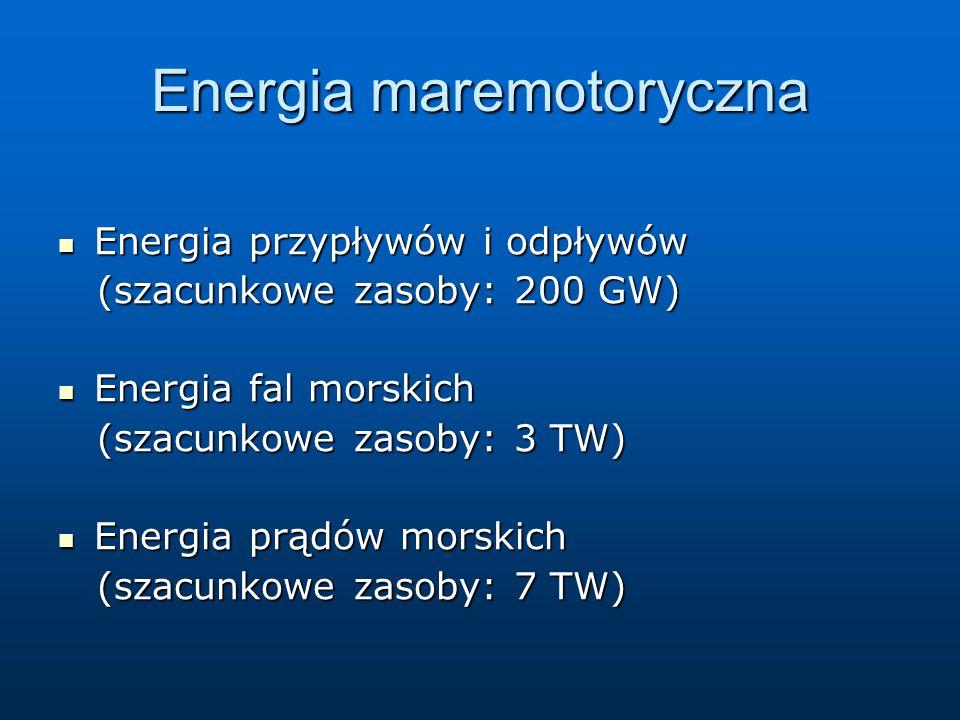 Energia maremotoryczna Energia przypływów i odpływów Energia przypływów i odpływów (szacunkowe zasoby: 200 GW) (szacunkowe zasoby: 200 GW) Energia fal morskich Energia fal morskich (szacunkowe zasoby: 3 TW) (szacunkowe zasoby: 3 TW) Energia prądów morskich Energia prądów morskich (szacunkowe zasoby: 7 TW) (szacunkowe zasoby: 7 TW)