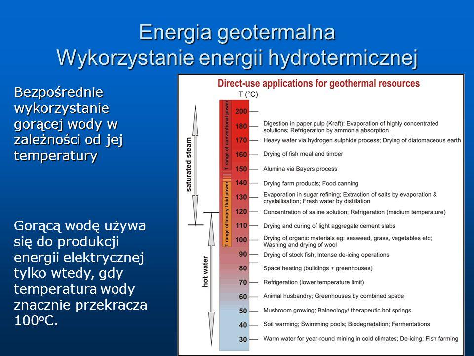 Energia geotermalna Wykorzystanie energii hydrotermicznej Bezpośredniewykorzystanie gorącej wody w zależności od jej temperatury Gorącą wodę używa się do produkcji energii elektrycznej tylko wtedy, gdy temperatura wody znacznie przekracza 100 o C.