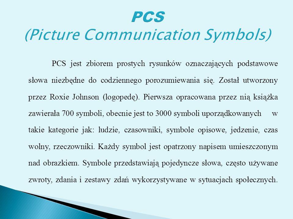 PCS jest zbiorem prostych rysunków oznaczających podstawowe słowa niezbędne do codziennego porozumiewania się. Został utworzony przez Roxie Johnson (l