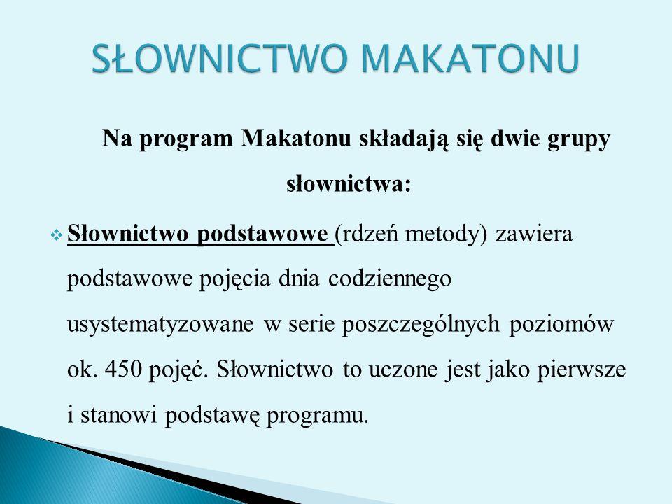 Na program Makatonu składają się dwie grupy słownictwa:  Słownictwo podstawowe (rdzeń metody) zawiera podstawowe pojęcia dnia codziennego usystematyz