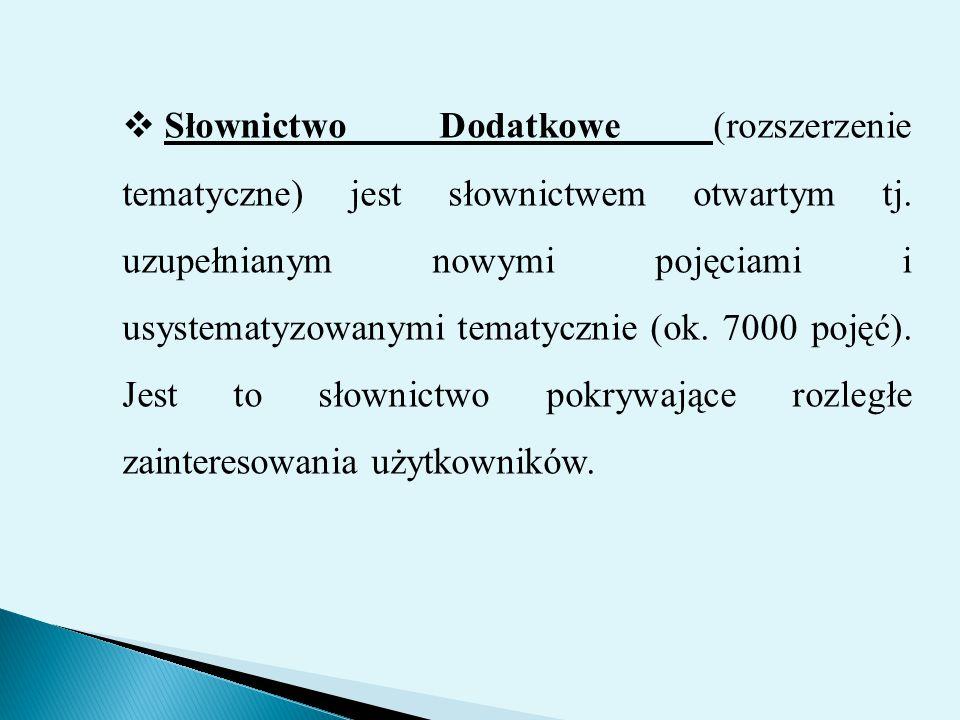  Słownictwo Dodatkowe (rozszerzenie tematyczne) jest słownictwem otwartym tj. uzupełnianym nowymi pojęciami i usystematyzowanymi tematycznie (ok. 700