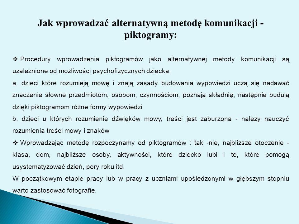 Jak wprowadzać alternatywną metodę komunikacji - piktogramy:  Procedury wprowadzenia piktogramów jako alternatywnej metody komunikacji są uzależnione