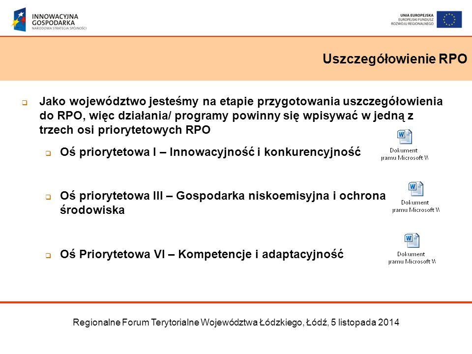 Uszczegółowienie RPO Regionalne Forum Terytorialne Województwa Łódzkiego, Łódź, 5 listopada 2014  Jako województwo jesteśmy na etapie przygotowania uszczegółowienia do RPO, więc działania/ programy powinny się wpisywać w jedną z trzech osi priorytetowych RPO  Oś priorytetowa I – Innowacyjność i konkurencyjność  Oś priorytetowa III – Gospodarka niskoemisyjna i ochrona środowiska  Oś Priorytetowa VI – Kompetencje i adaptacyjność