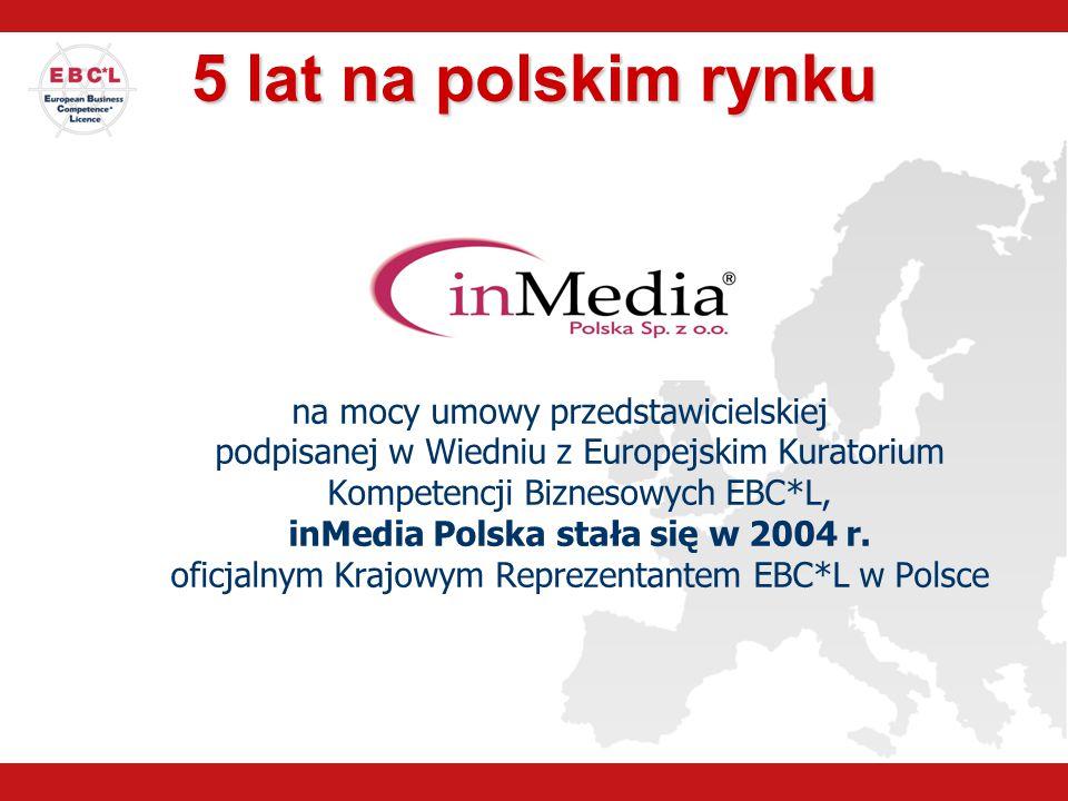 5 lat na polskim rynku na mocy umowy przedstawicielskiej podpisanej w Wiedniu z Europejskim Kuratorium Kompetencji Biznesowych EBC*L, inMedia Polska s