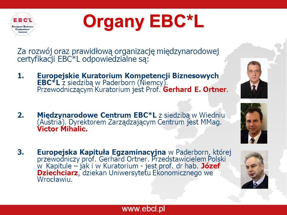 www.ebcl.pl Organy EBC*L Za rozwój oraz prawidłową organizację międzynarodowej certyfikacji EBC*L odpowiedzialne są: 1.Europejskie Kuratorium Kompeten