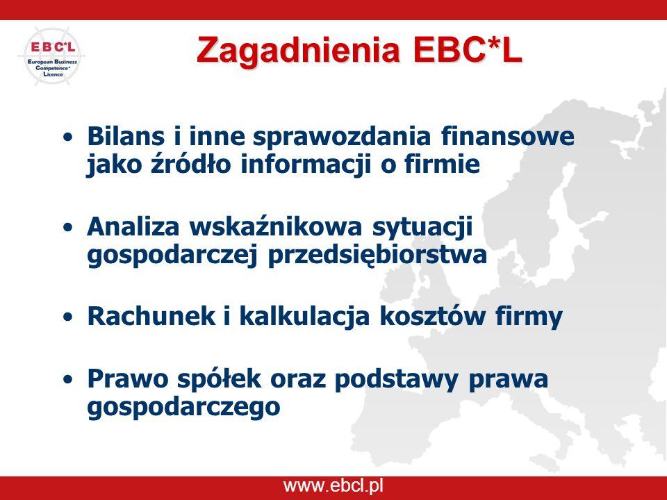 www.ebcl.pl Zagadnienia EBC*L Bilans i inne sprawozdania finansowe jako źródło informacji o firmie Analiza wskaźnikowa sytuacji gospodarczej przedsięb
