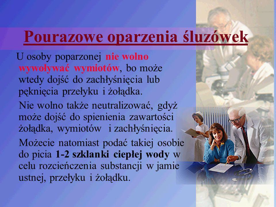 Pourazowe oparzenia śluzówek U osoby poparzonej nie wolno wywoływać wymiotów, bo może wtedy dojść do zachłyśnięcia lub pęknięcia przełyku i żołądka. N