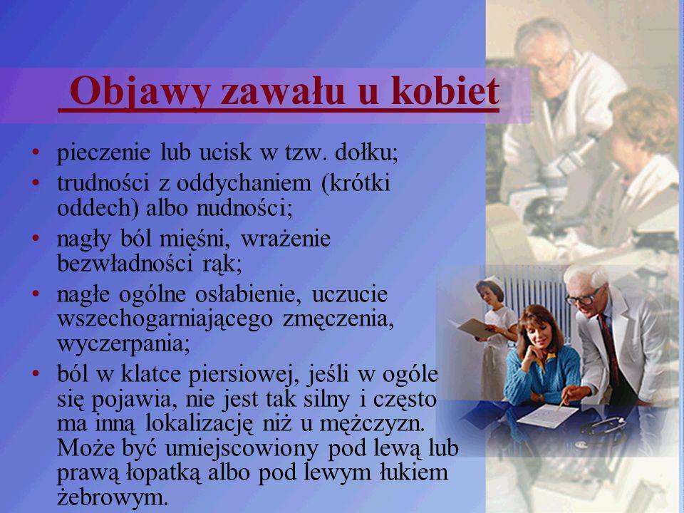 Objawy zawału u kobiet pieczenie lub ucisk w tzw. dołku; trudności z oddychaniem (krótki oddech) albo nudności; nagły ból mięśni, wrażenie bezwładnośc