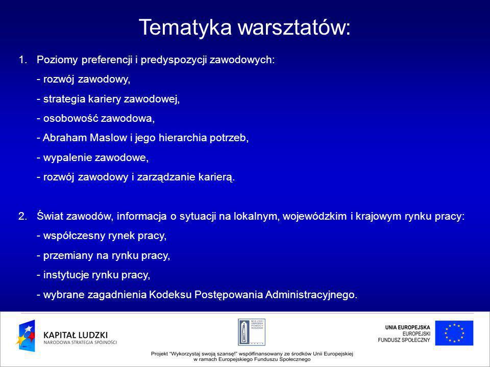 Tematyka warsztatów: 1.Poziomy preferencji i predyspozycji zawodowych: - rozwój zawodowy, - strategia kariery zawodowej, - osobowość zawodowa, - Abraham Maslow i jego hierarchia potrzeb, - wypalenie zawodowe, - rozwój zawodowy i zarządzanie karierą.