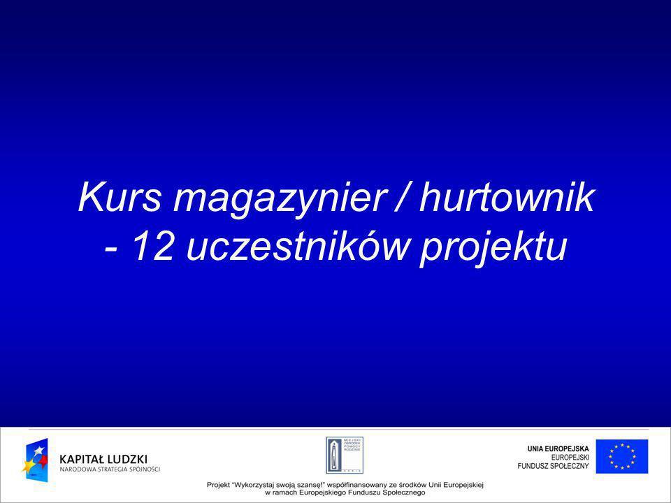 Kurs magazynier / hurtownik - 12 uczestników projektu