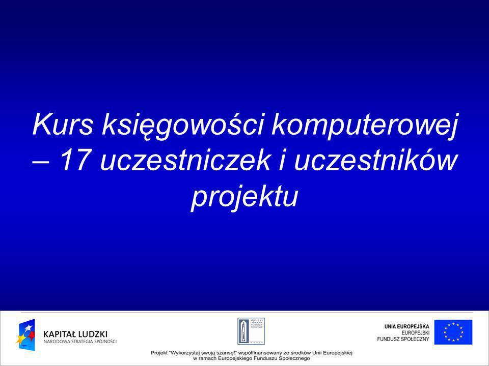 Kurs księgowości komputerowej – 17 uczestniczek i uczestników projektu