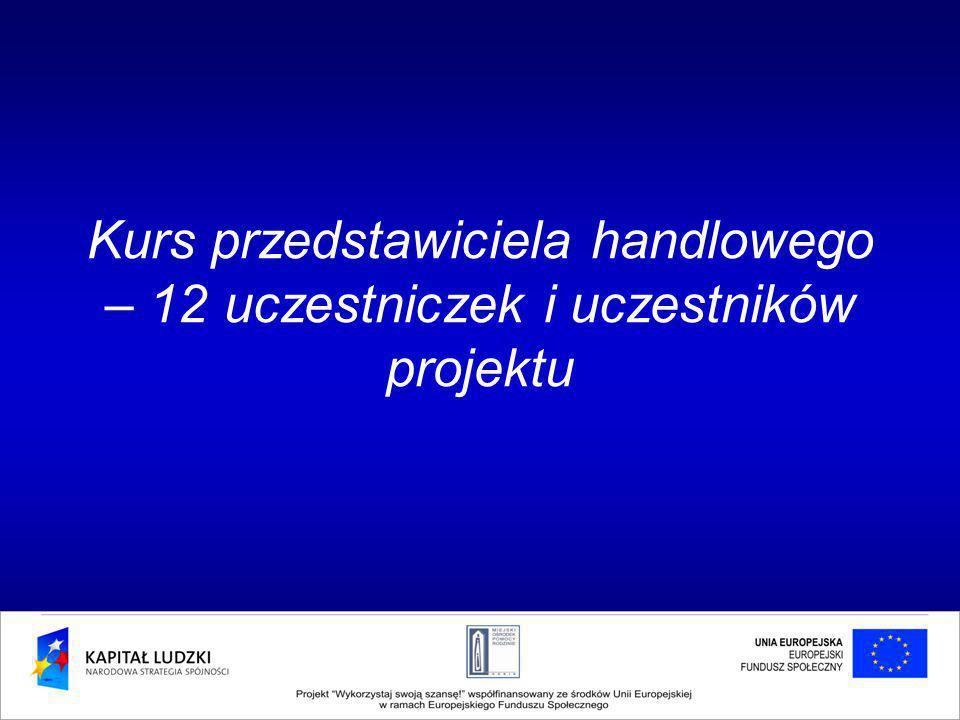 Kurs przedstawiciela handlowego – 12 uczestniczek i uczestników projektu
