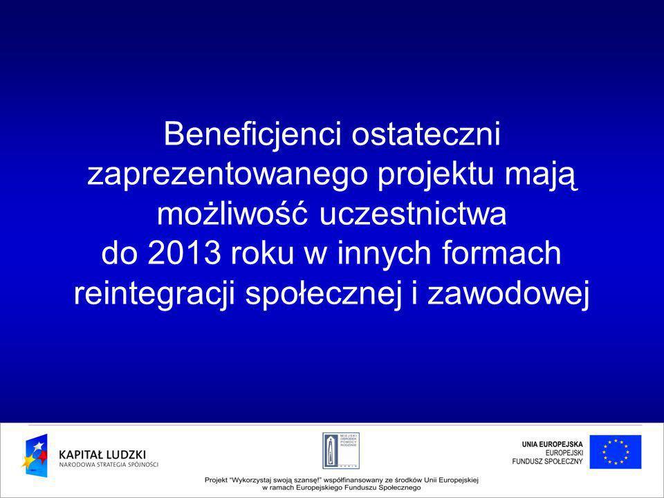 Beneficjenci ostateczni zaprezentowanego projektu mają możliwość uczestnictwa do 2013 roku w innych formach reintegracji społecznej i zawodowej