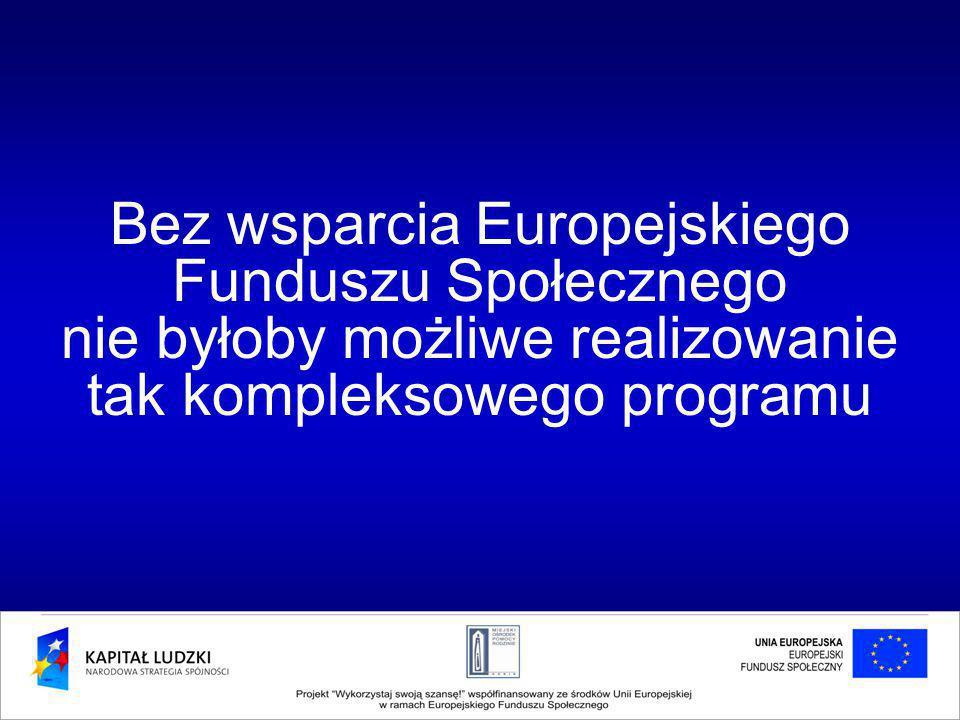 Bez wsparcia Europejskiego Funduszu Społecznego nie byłoby możliwe realizowanie tak kompleksowego programu