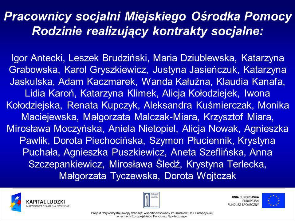 Pracownicy socjalni Miejskiego Ośrodka Pomocy Rodzinie realizujący kontrakty socjalne: Igor Antecki, Leszek Brudziński, Maria Dziublewska, Katarzyna G