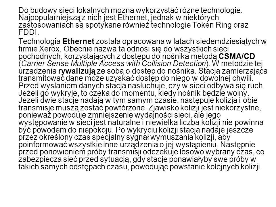 Do budowy sieci lokalnych można wykorzystać różne technologie.