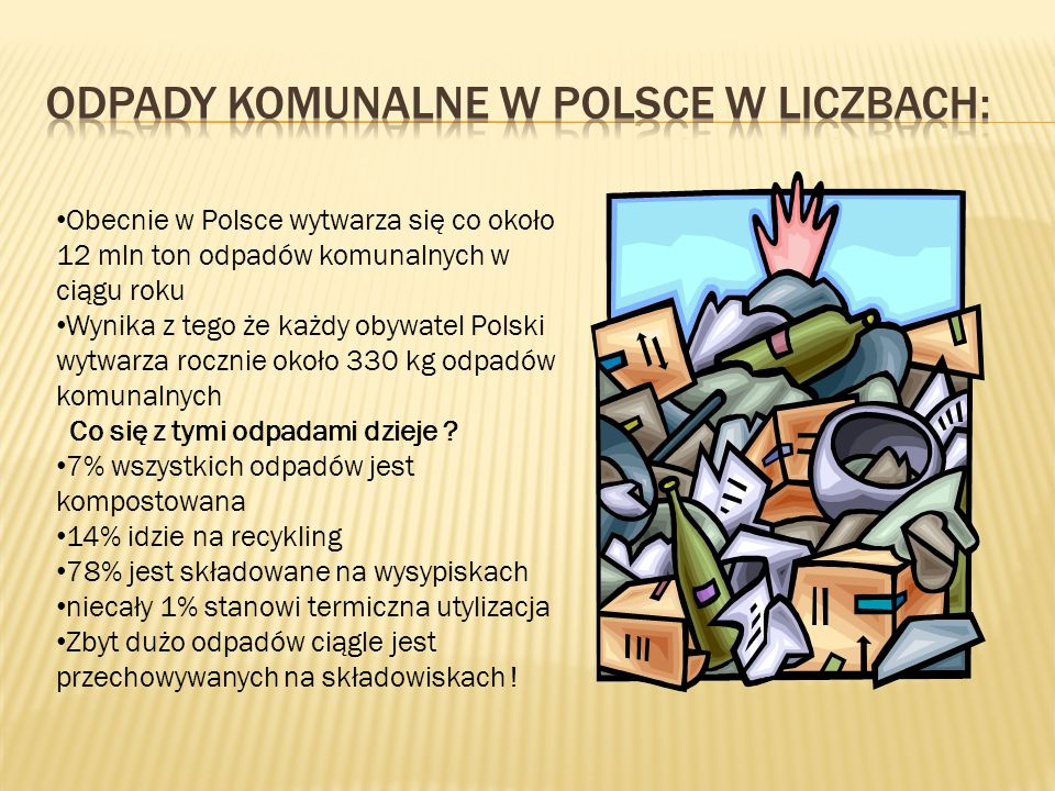Obecnie w Polsce wytwarza się co około 12 mln ton odpadów komunalnych w ciągu roku Wynika z tego że każdy obywatel Polski wytwarza rocznie około 330 kg odpadów komunalnych Co się z tymi odpadami dzieje .