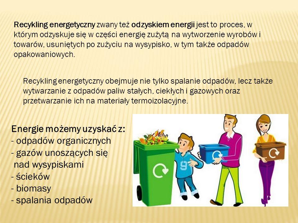 Recykling energetyczny zwany też odzyskiem energii jest to proces, w którym odzyskuje się w części energię zużytą na wytworzenie wyrobów i towarów, us