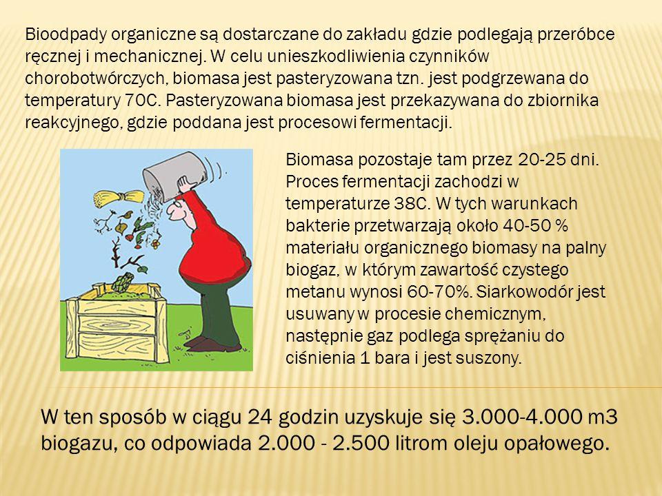 Bioodpady organiczne są dostarczane do zakładu gdzie podlegają przeróbce ręcznej i mechanicznej. W celu unieszkodliwienia czynników chorobotwórczych,