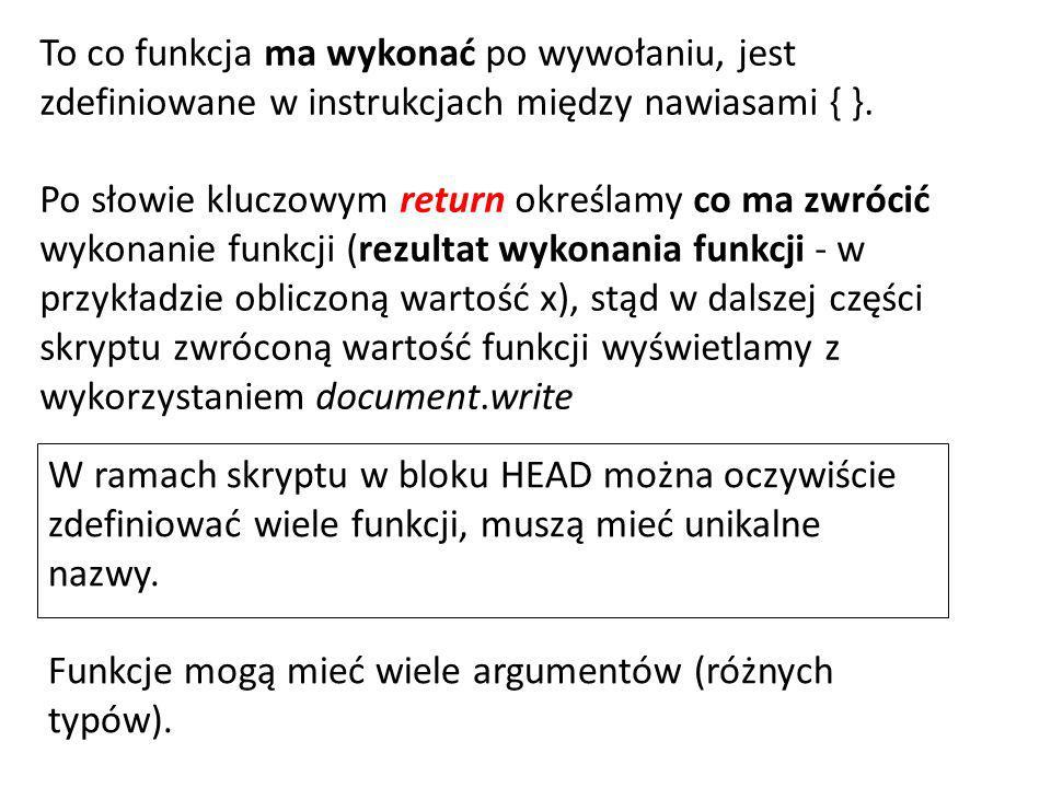 W ramach skryptu w bloku HEAD można oczywiście zdefiniować wiele funkcji, muszą mieć unikalne nazwy.