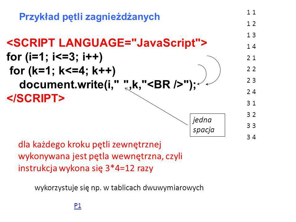 for (i=1; i<=3; i++) for (k=1; k<=4; k++) document.write(i, ,k, ); Przykład pętli zagnieżdżanych 1 1 2 1 3 1 4 2 1 2 2 3 2 4 3 1 3 2 3 3 4 dla każdego kroku pętli zewnętrznej wykonywana jest pętla wewnętrzna, czyli instrukcja wykona się 3*4=12 razy wykorzystuje się np.