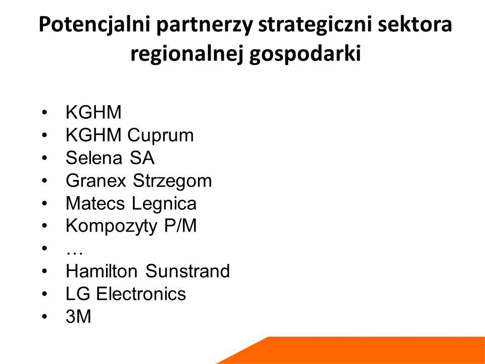 Potencjalni partnerzy strategiczni sektora regionalnej gospodarki KGHM KGHM Cuprum Selena SA Granex Strzegom Matecs Legnica Kompozyty P/M … Hamilton Sunstrand LG Electronics 3M