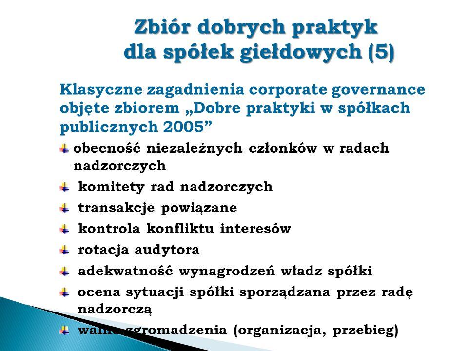 """Zbiór dobrych praktyk dla spółek giełdowych (5) Klasyczne zagadnienia corporate governance objęte zbiorem """"Dobre praktyki w spółkach publicznych 2005"""""""