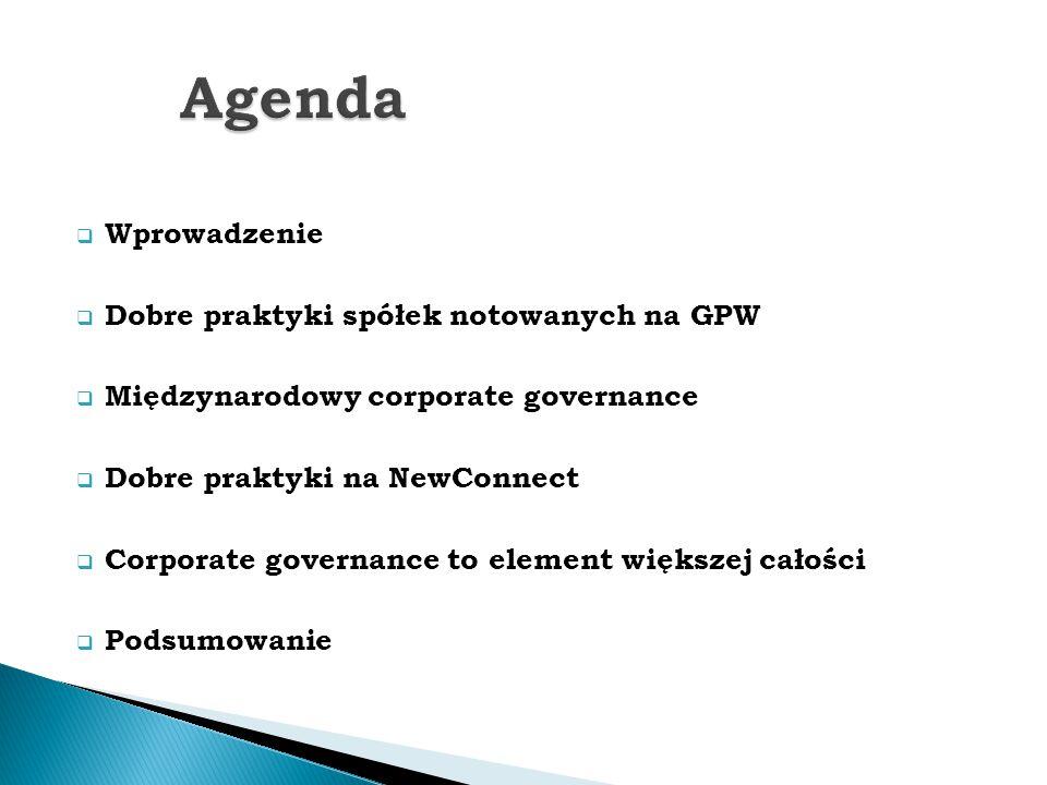  Wprowadzenie  Dobre praktyki spółek notowanych na GPW  Międzynarodowy corporate governance  Dobre praktyki na NewConnect  Corporate governance t