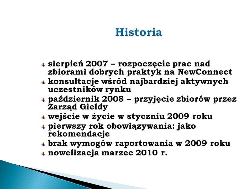 sierpień 2007 – rozpoczęcie prac nad zbiorami dobrych praktyk na NewConnect konsultacje wśród najbardziej aktywnych uczestników rynku październik 2008