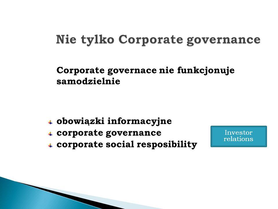Corporate governace nie funkcjonuje samodzielnie obowiązki informacyjne corporate governance corporate social resposibility Investor relations