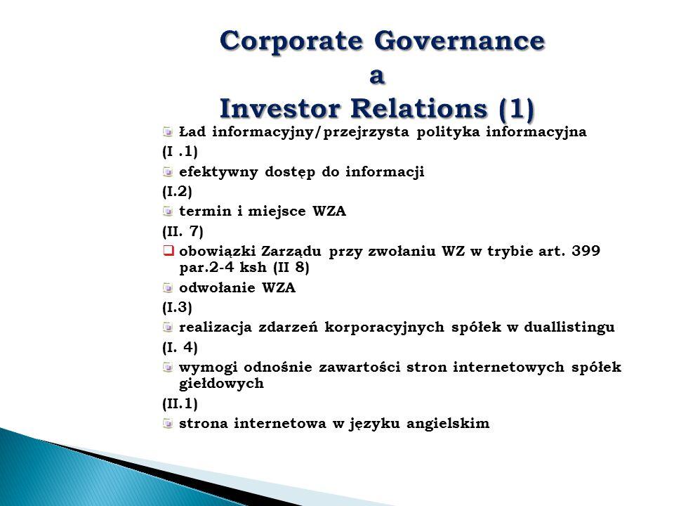 Ład informacyjny/przejrzysta polityka informacyjna (I.1) efektywny dostęp do informacji (I.2) termin i miejsce WZA (II. 7)  obowiązki Zarządu przy zw