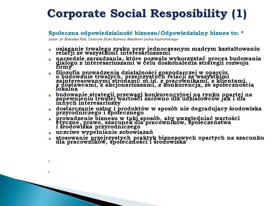 Społeczna odpowiedzialność biznesu/Odpowiedzialny biznes to: * autor: dr Bolesław Rok, Centrum Etyki Biznesu Akademii Leona Koźmińskiego osiąganie trw