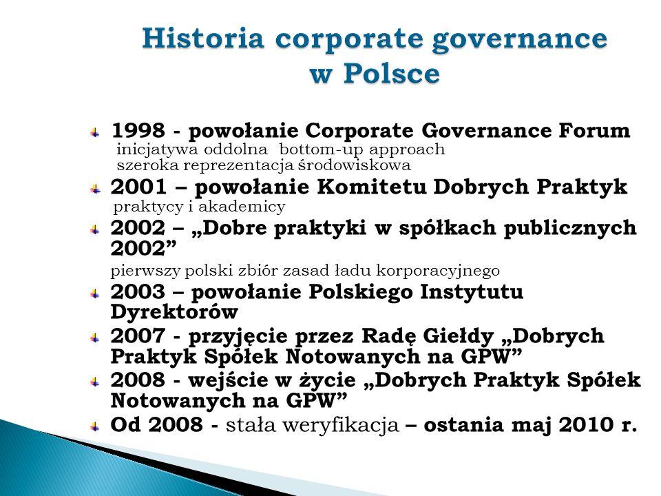 1998 - powołanie Corporate Governance Forum inicjatywa oddolna bottom-up approach szeroka reprezentacja środowiskowa 2001 – powołanie Komitetu Dobrych